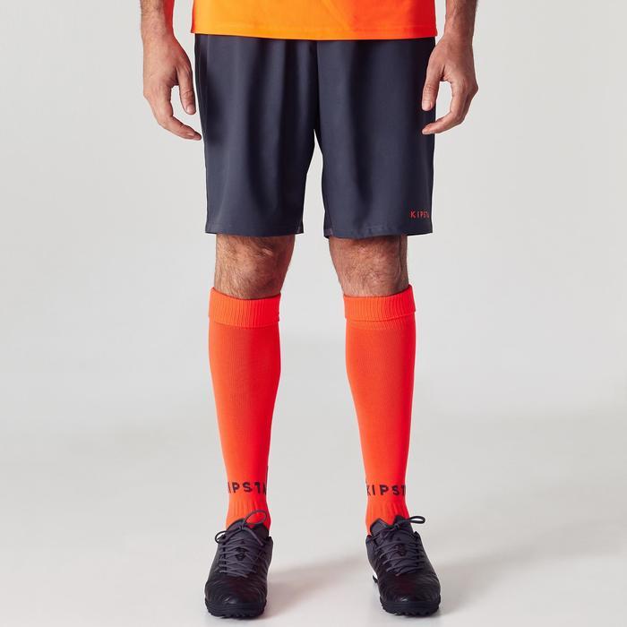 Voetbalshort voor volwassenen F500 grijs oranje