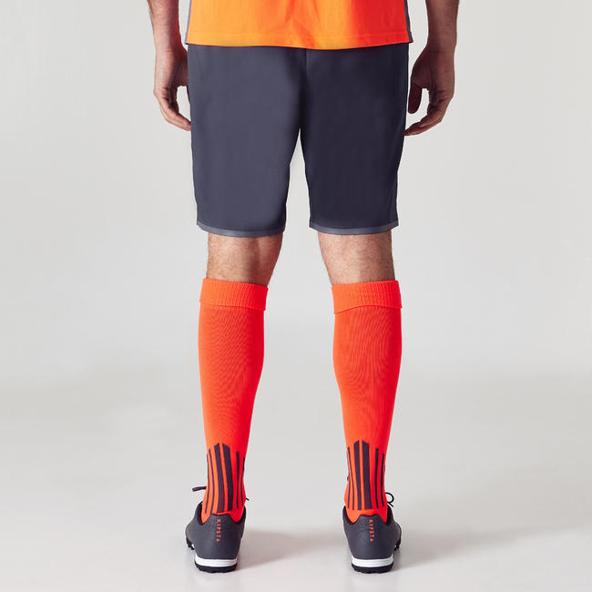 Men's Football Shorts F500 - Grey/Orange