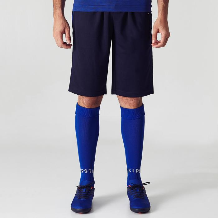 Short long d'entraînement de football adulte T500 bleu marine