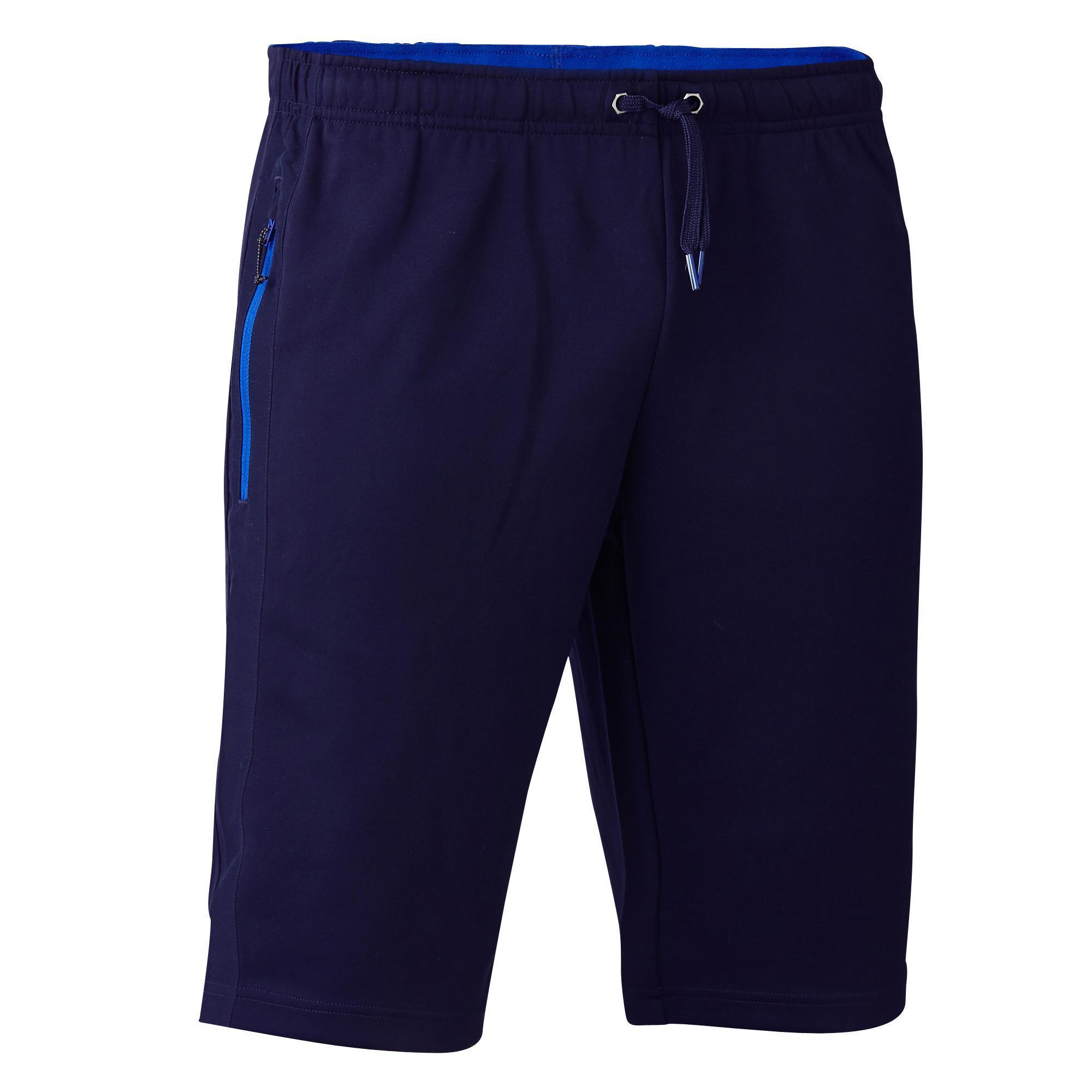 Kipsta Voetbalbroekje T500 met ritszakken volwassenen marineblauw