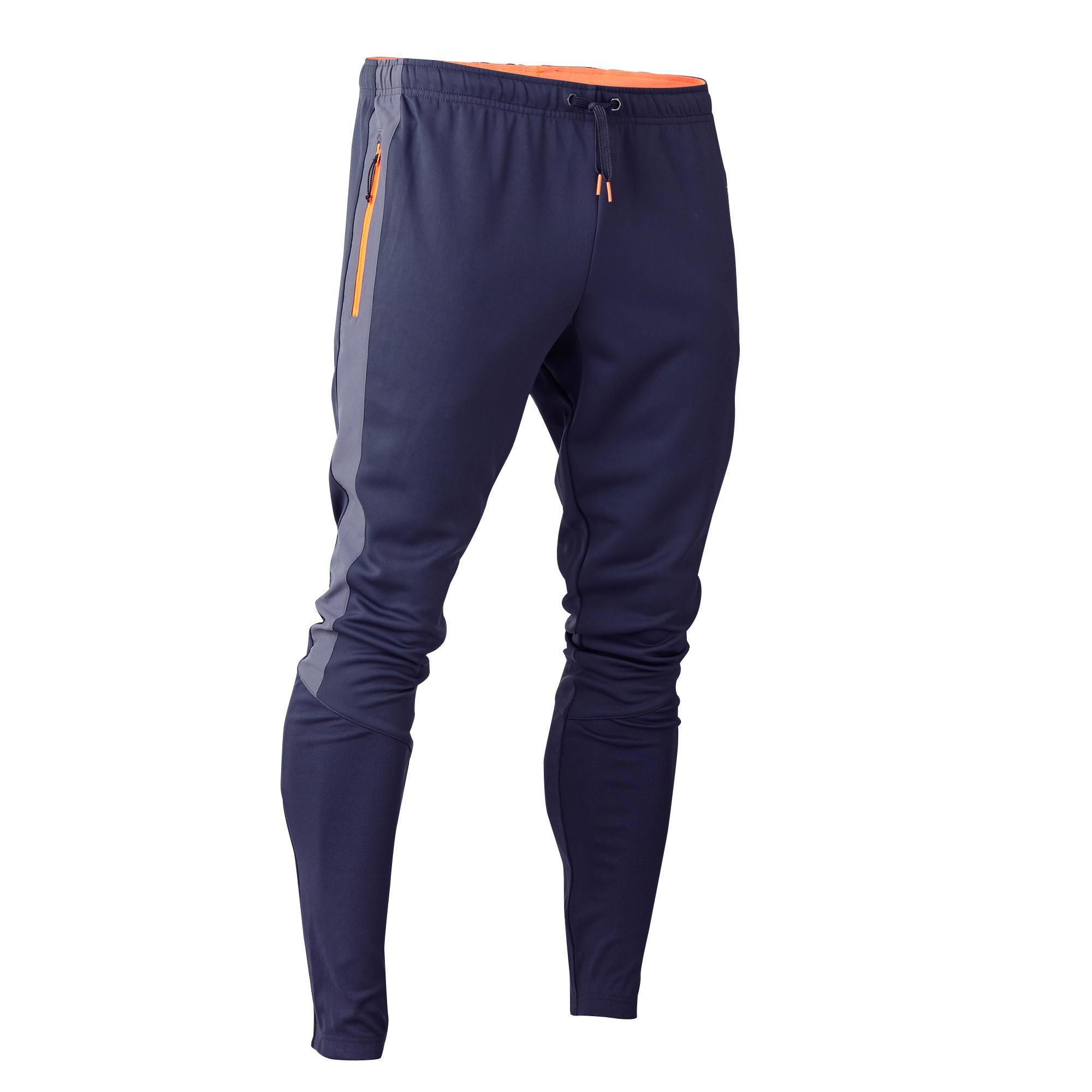 Kipsta Voetbal trainingsbroek T500 voor volwassenen grijs/oranje