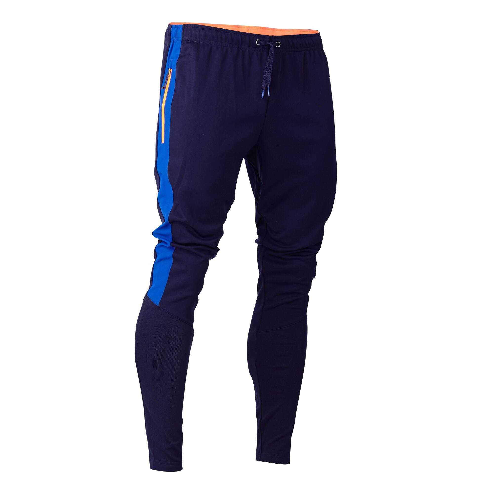 Pants de entrenamiento de fútbol para adulto T500 azul marino