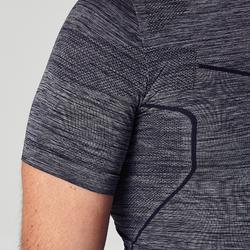 Camiseta térmica manga corta adulto Keepdry 500 gris jaspeado oscuro