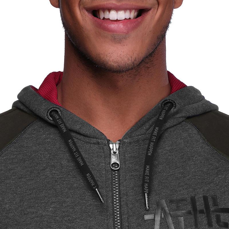 Veste capuche ABSORB+ musculation homme noir et gris