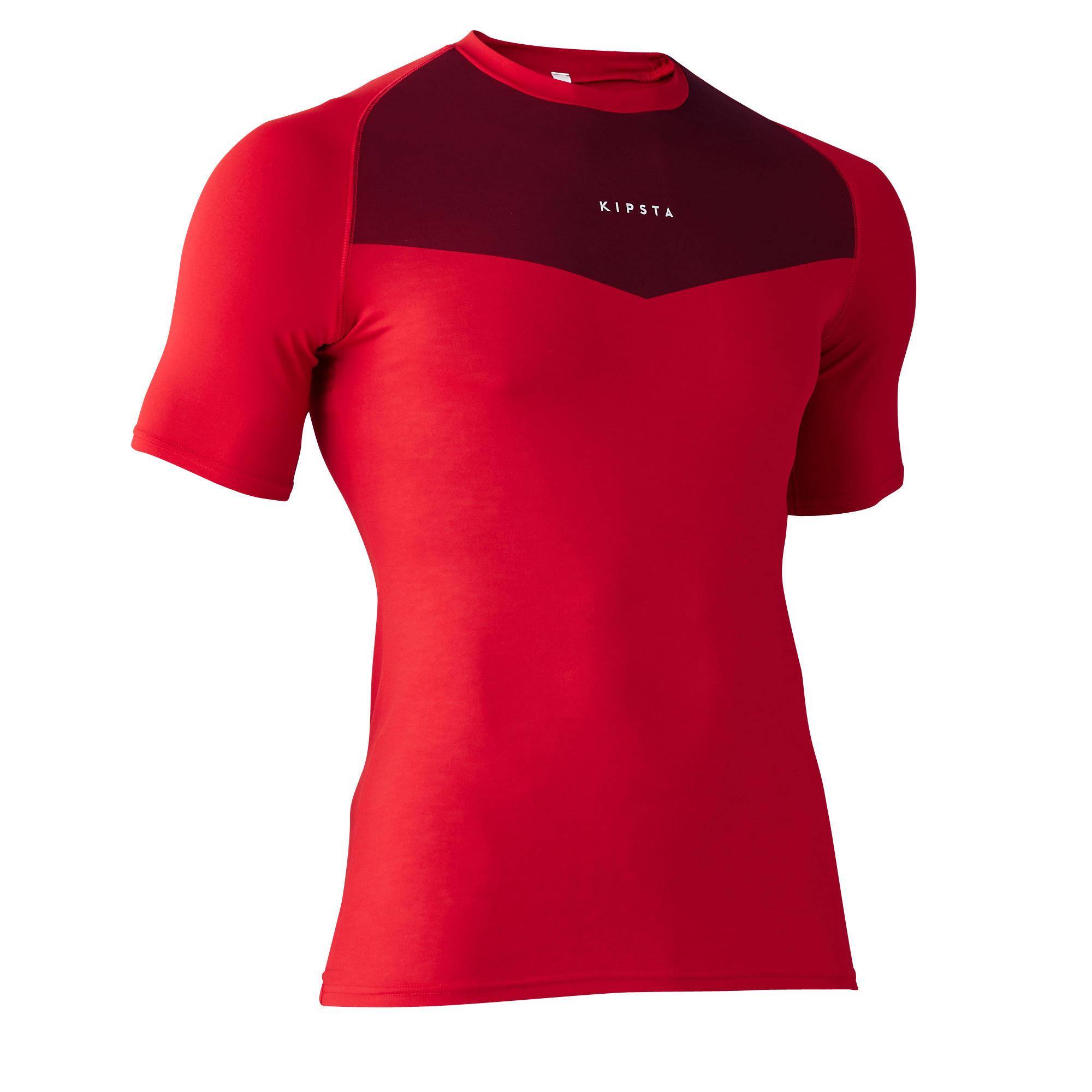 Kipsta Thermoshirt Keepdry 100 korte mouwen volwassenen rood