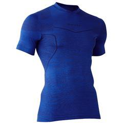 Thermoshirt Keepdry 500 met korte mouwen voor volwassenen gemêleerd donkerblauw