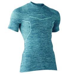 Thermoshirt Keepdry 500 met korte mouwen voor volwassenen gemêleerd groen
