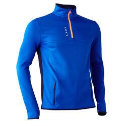 成人半長式拉鍊訓練用足球運動衫 T500 - 藍色
