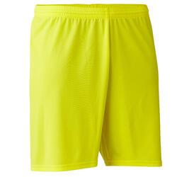 Voetbalshort F100 voor volwassenen geel