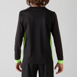 Camiseta Manga Larga Fútbol Kipsta FSH500 Niño Negro Verde