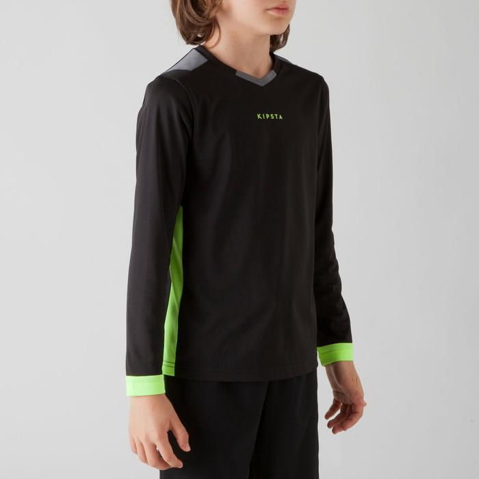 Camiseta de fútbol manga larga niños F500 negro Kipsta  72aa6d6e8c840
