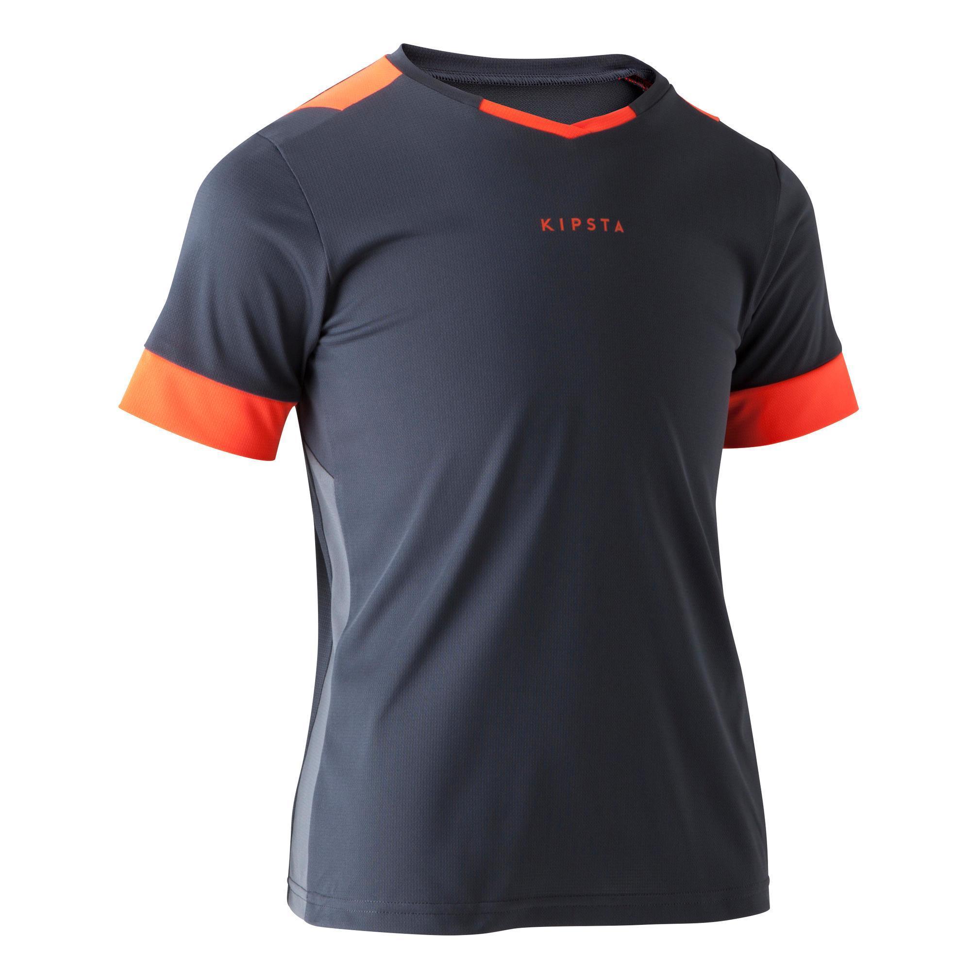 Fußballtrikot F500 Kinder grau/orange | Sportbekleidung > Trikots | Orange | Trikot | Kipsta