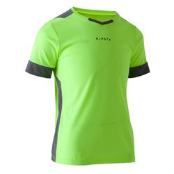 Camiseta de Fútbol júnior Kipsta F500 amarillo limón y gris