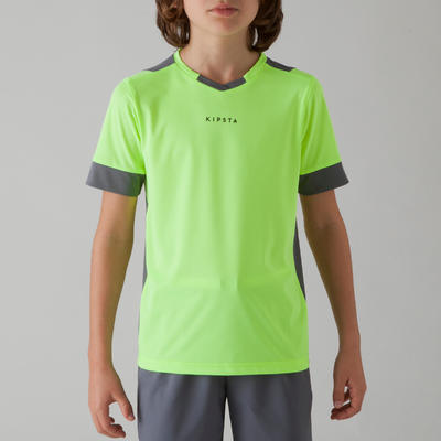 חולצת כדורגל לילדים דגם F500 - צהוב/אפור