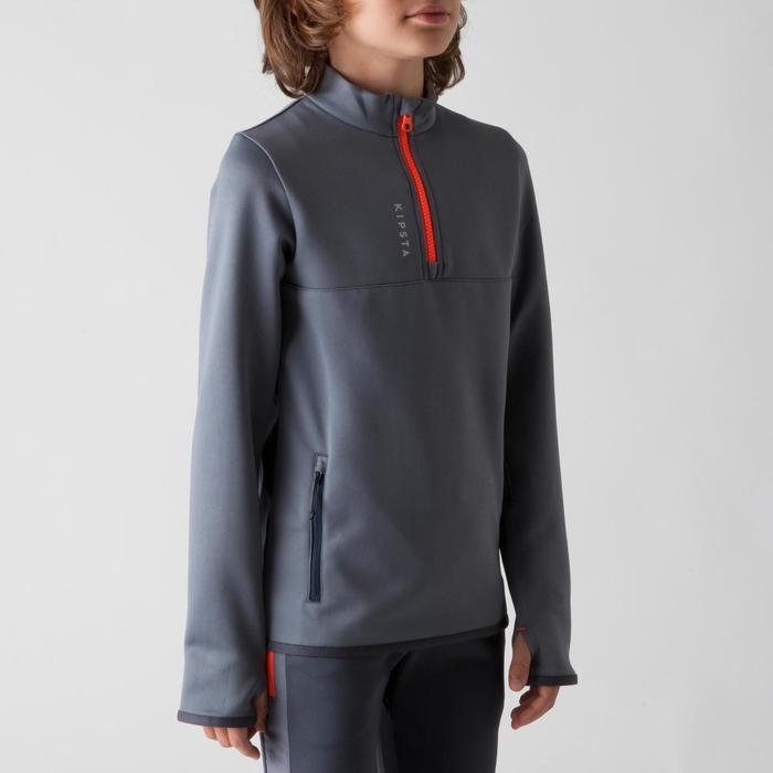 Sweat 1/2 zip d'entraînement de football enfant T500 gris foncé et orange