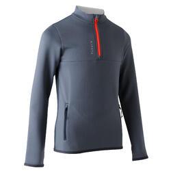 Trainingssweater met halve rits T500 voor voetbal kinderen donkergrijs/oranje