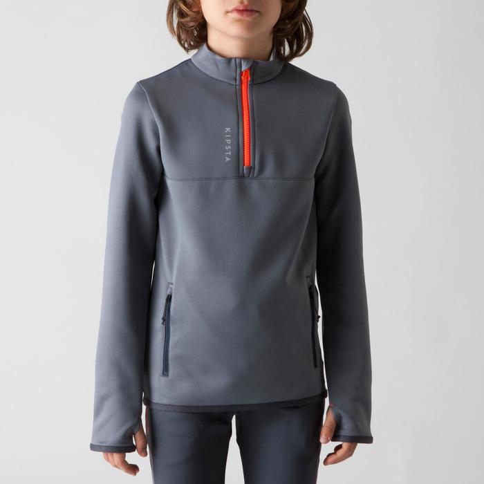 Sweat 1/2 zip d'entraînement de football enfant T500 gris orange