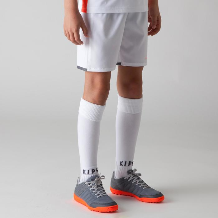 Short de football enfant F500 blanc et orange