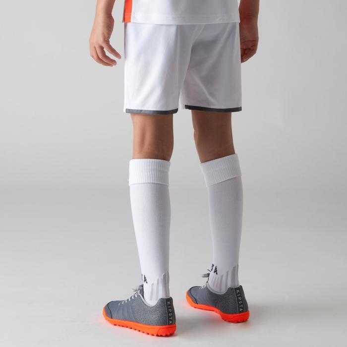 Voetbalshort F500 voor kinderen wit en oranje