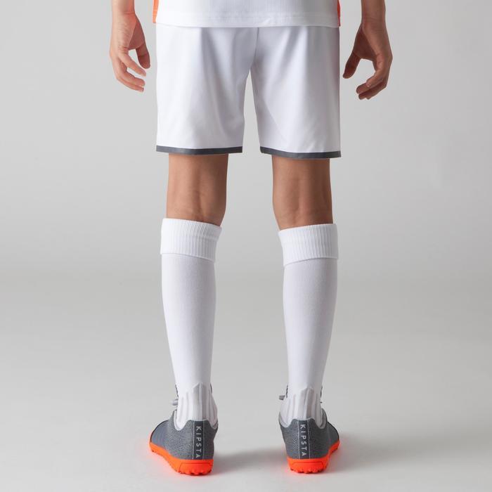 Pantalón corto de fútbol júnior F500 blanco y naranja