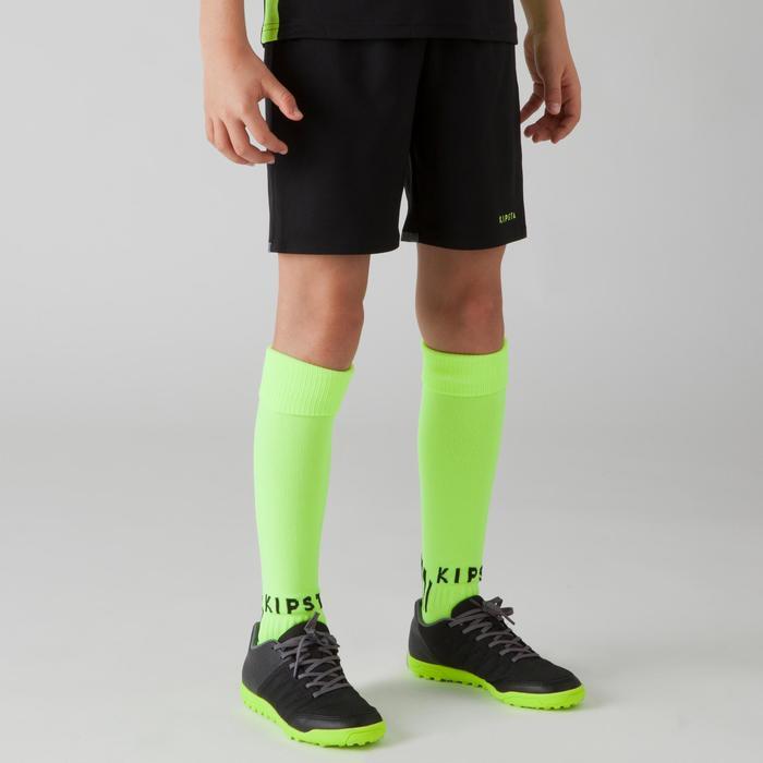 Pantalón corto de fútbol júnior F500 azul negro y amarillo fluorescente