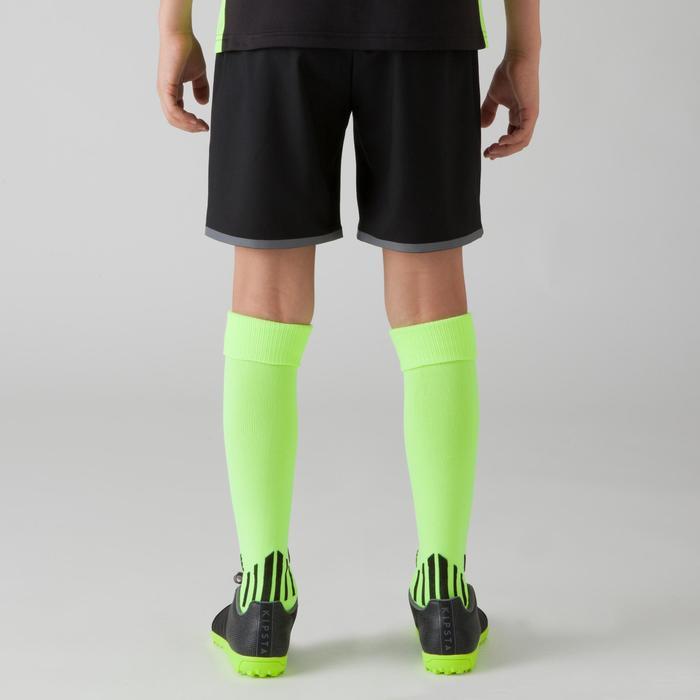 Fußballshorts F500 Kinder blauschwarz/neongelb