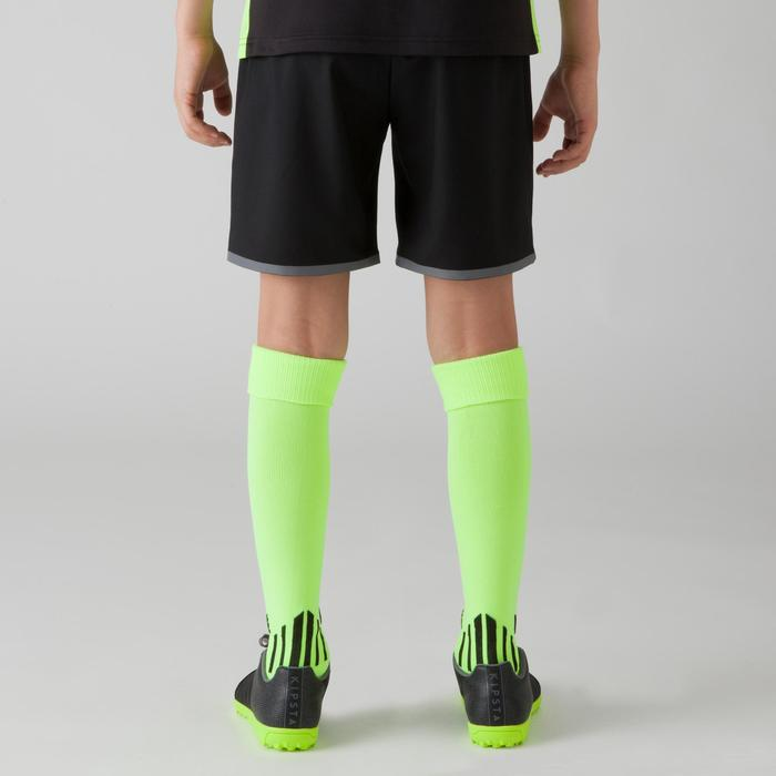 Short de football enfant F500 bleu noir et jaune fluo