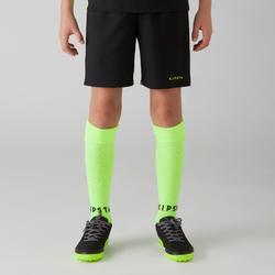 Pantalón corto de Fútbol júnior Kipsta F500 azul negro y amarillo fluorescente