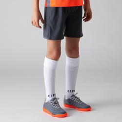Fußballshorts F500 Kinder grau/orange