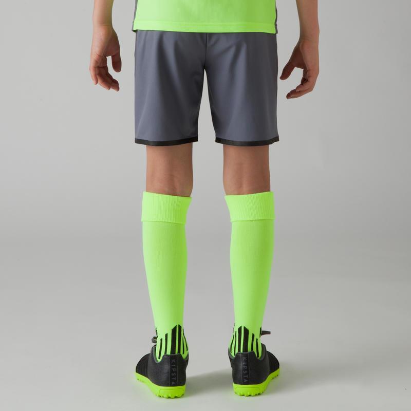 Short de football enfant F500 gris jaune acide