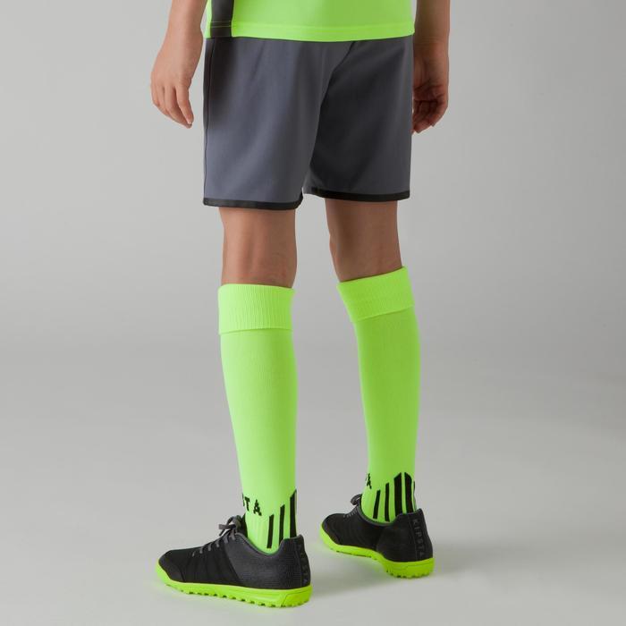 Pantalón corto de fútbol júnior F500 amarillo fluo gris