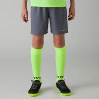 Short de soccer enfant F500 gris jaune acide
