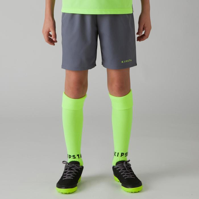 Short de football enfant F500 gris jaune acide