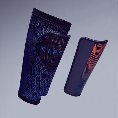 Adult Football Shin Pads F180 - Blue/Orange