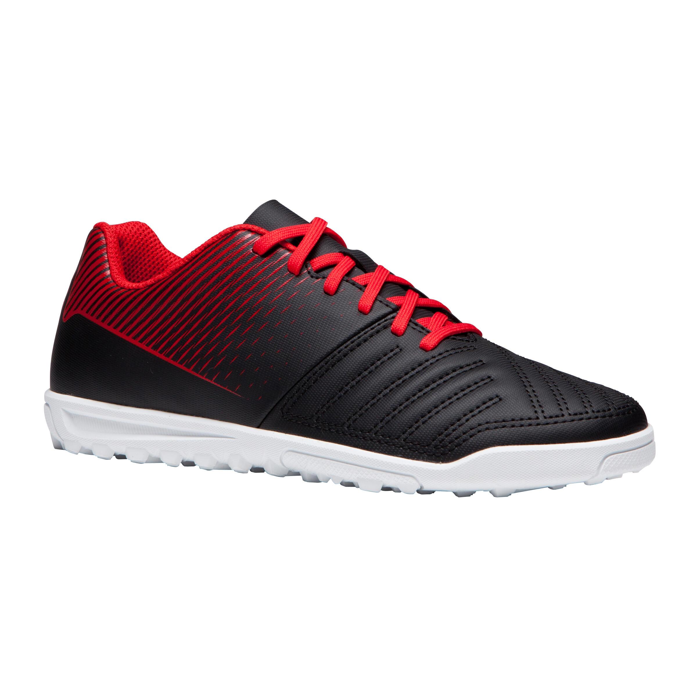 Chaussure de soccer enfant terrains durs Agilité 100 HG Noire blanche rouge
