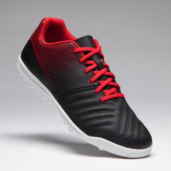 Chaussure de soccer enfant terrain dur Agilité 100 HG noire blanche rouge