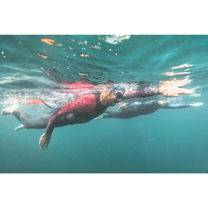 Traje Neopreno Natación Aguas Abiertas OWSwim 1/0 mm Hombre Gris Rojo