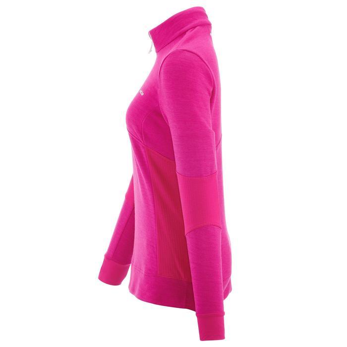 PULL DE SKI FEMME WARM 300   ROSE BLANC