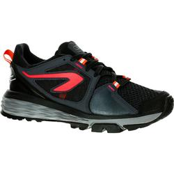 Zapatillas Running Kalenji Run Confort Grip Mujer Negro/Rojo/Coral