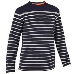 男款長袖航海T恤100 - 深藍