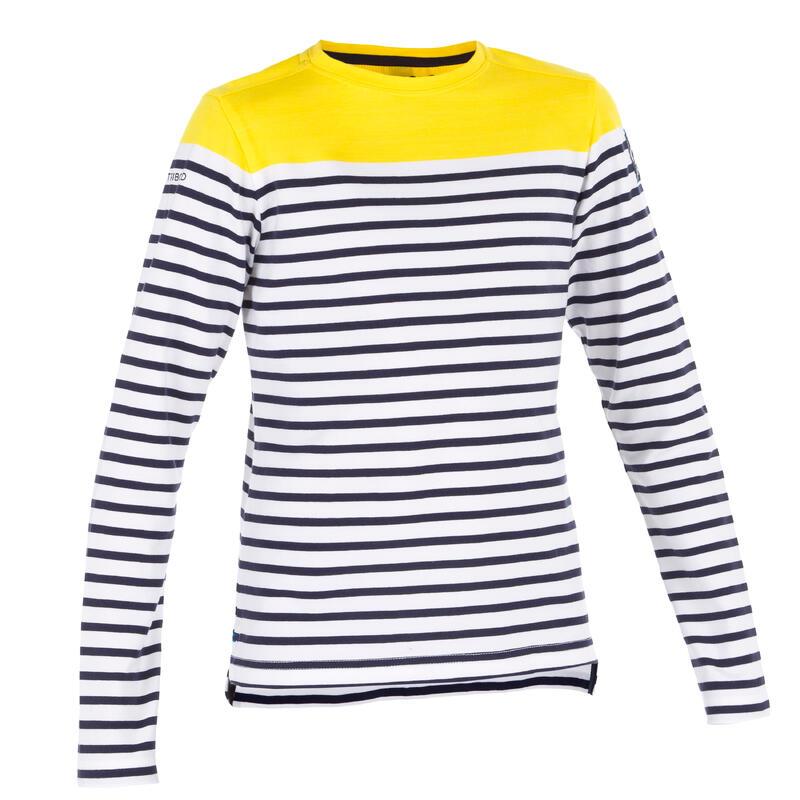 Camiseta Manga Larga Vela Sailing 100 Niños Amarillo Rayas Estilo Marinero