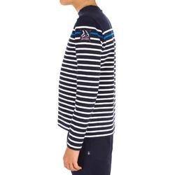 Jongensshirt met lange mouwen voor zeilen Sailing 100 blauw gestreept