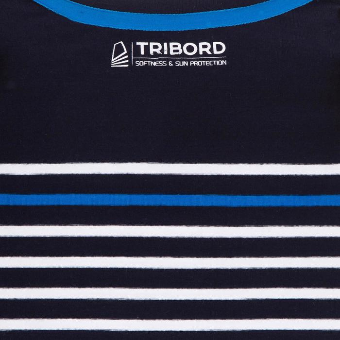 Jongensshirt LM voor zeilen Sailing 100 blauw gestreept