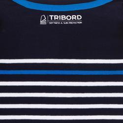 T-Shirt Manches longues voile SAILING 100 Garçon Rayé Bleu