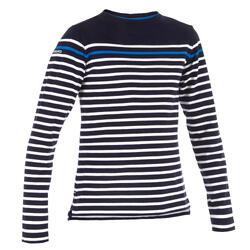 T-Shirt ML voile SAILING 100 Garçon Rayé Bleu