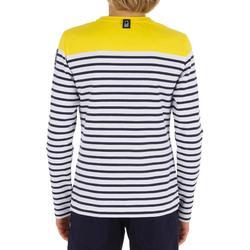 T-Shirt Manches longues - marinière voile Sailing 100 Garçon Rayé Jaune