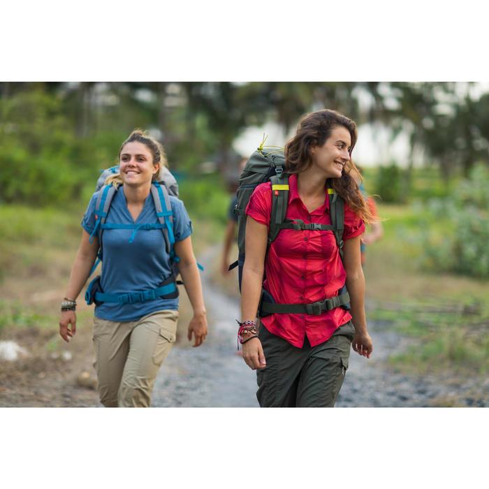 Trekkingbluse kurzarm Travel 100 Damen hellrot