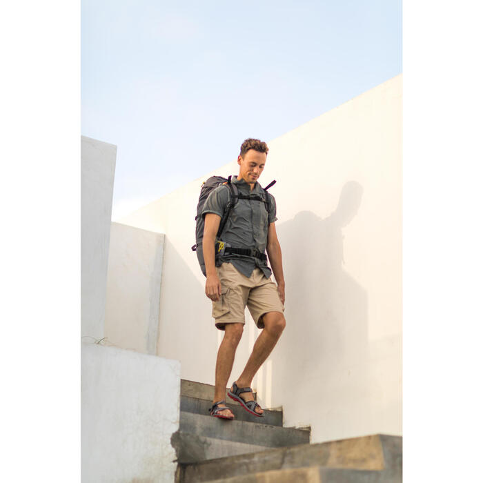 Trekkinghemd Travel 100 Fresh Herren Print grau
