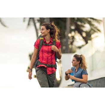 Trekkingbluse kurzarm Travel 100 Damen kaki