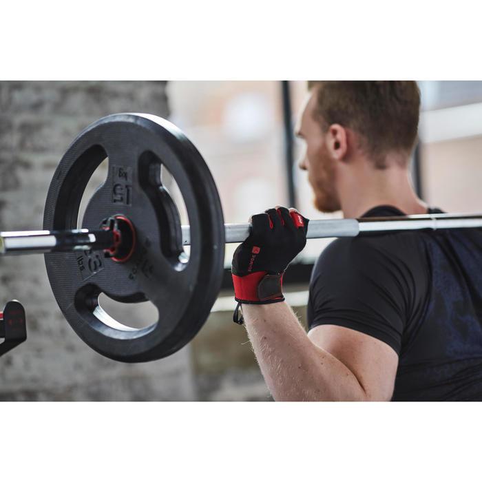 Trainingshandschuhe 500 Krafttraining Klettverschluss schwarz/rot